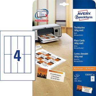 Avery Zweckform No. C32253-25 univerzális 110 x 40 mm méretű, 185 g-os matt, egyoldalas fehér nyomtatható ültetőkártya, mikroperforált élekkel A4-es íven - 100 ültetőkártya / csomag (Avery C32253-25)