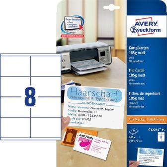 Avery Zweckform No. C32254-25 univerzális 105 x 70 mm méretű, 185 g-os matt, kétoldalas fehér nyomtatható nyilvántartó kártya, mikroperforált élekkel A4-es íven - 200 kártya / csomag (Avery C32254-25)