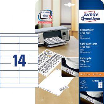 Avery Zweckform No. C32258-25 univerzális 105 x 38 mm méretű, 170 g-os matt, egyoldalas fehér nyomtatható polccímke, mikroperforált élekkel A4-es íven - 350 polccímke / csomag (Avery C32258-25)
