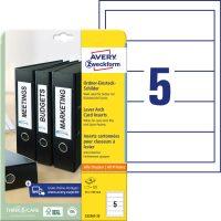 Avery Zweckform No. C32267-25 univerzális 54 x 190 mm méretű, iratrendező betétlap mikroperforált élekkel A4-es íven - 125 betétlap / csomag - 25 ív / csomag (Avery C32267-25)