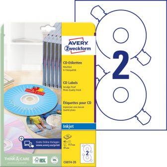 Avery Zweckform No. C6074-20 tintasugaras 117 mm átmérőjű, fehér, fényes felületű öntapadó CD címke A4-es íven - 40 címke / csomag - 20 ív / csomag (Avery C6074-20)