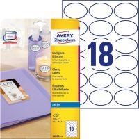 Avery Zweckform No. C6079-10 tintasugaras 63,5 x 42,3 mm méretű ovális alakú, fehér színű, fényes felületű, fotóminőségű termékcímke A4-es íven - 180 címke / csomag - 10 ív / csomag (Avery C6079-10)