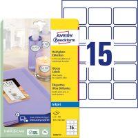 Avery Zweckform No. C6080-10 tintasugaras 63,5 x 46,6 mm méretű, fehér színű, fényes felületű, fotóminőségű termékcímke A4-es íven - 150 címke / csomag - 10 ív / csomag (Avery C6080-10)