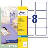 Avery Zweckform No. C6081-10 tintasugaras 88,9 x 63,5 mm méretű, fehér színű, fényes felületű, fotóminőségű termékcímke A4-es íven - 80 címke / csomag - 10 ív / csomag (Avery C6081-10)
