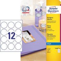 Avery Zweckform No. C6082-10 tintasugaras 60 mm átmérőjű, fehér színű, fényes felületű, fotóminőségű termékcímke A4-es íven - 120 címke / csomag - 10 ív / csomag (Avery C6082-10)