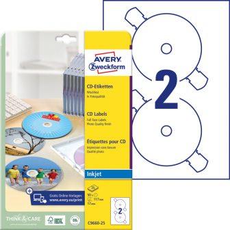 Avery Zweckform No. C9660-25 tintasugaras 117 mm átmérőjű, fehér, fényes felületű öntapadó CD címke A4-es íven - 50 címke / csomag - 25 ív / csomag (Avery C9660-25)
