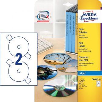 Avery Zweckform No. C9780-15 tintasugaras 117 mm átmérőjű, fehér öntapadó DVD címke biztonsági perforációval A4-es íven - 30 címke / csomag - 15 ív / csomag (Avery C9780-15)