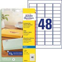 Avery Zweckform No. J4720-25 tintasugaras 45,7 x 21,2 mm méretű, átlátszó öntapadó etikett címke A4-es íven - 1200 címke / csomag - 25 ív / csomag (Avery J4720-25)