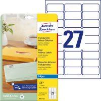 Avery Zweckform No. J4721-25 tintasugaras 63,5 x 29,6 mm méretű, átlátszó öntapadó etikett címke A4-es íven - 675 címke / csomag - 25 ív / csomag (Avery J4721-25)