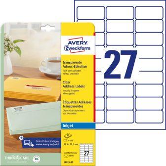 Avery Zweckform J4721-25 nyomtatható öntapadós átlátszó címzés címke tintasugaras nyomtatóhoz