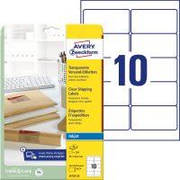 Avery Zweckform No. J4722-25 tintasugaras 96 x 50,8 mm méretű, átlátszó öntapadó etikett címke A4-es íven - 250 címke / csomag - 25 ív / csomag (Avery J4722-25)