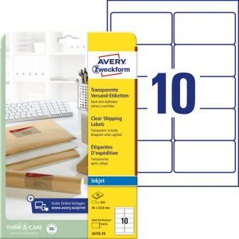 Avery Zweckform J4722-25 nyomtatható öntapadós átlátszó csomag címke tintasugaras nyomtatóhoz