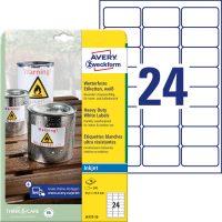 Avery Zweckform No. J4773-10 tintasugaras 63,5 x 33,9 mm méretű, fehér időjárásálló öntapadó etikett címke, tartós ragasztóval A4-es íven - 240 címke / csomag - 10 ív / csomag (Avery J4773-10)