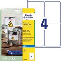 Avery Zweckform No. J4774-10 tintasugaras 99,1 x 139 mm méretű, fehér időjárásálló öntapadó etikett címke, tartós ragasztóval A4-es íven - 40 címke / csomag - 10 ív / csomag (Avery J4774-10)