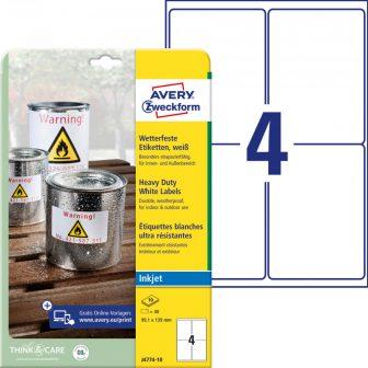 Avery Zweckform J4774-10 nyomtatható öntapadós időjárásálló etikett címke