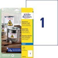 Avery Zweckform No. J4775-10 tintasugaras 210 x 297 mm méretű, fehér időjárásálló öntapadó etikett címke, tartós ragasztóval A4-es íven - 10 címke / csomag - 10 ív / csomag (Avery J4775-10)