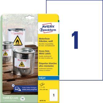 Avery Zweckform J4775-10 nyomtatható öntapadós időjárásálló etikett címke