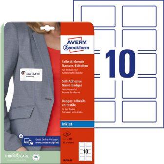 Avery Zweckform No. J4785-20 tintasugaras 80 x 50 mm méretű fehér öntapadó névcímke A4 -es íven - 200 névcímke / csomag - 20 ív / csomag (Avery J4785-20)