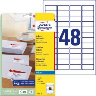 Avery Zweckform No. J4791-25 tintasugaras 45,7 x 21,2 mm méretű, fehér öntapadó etikett címke A4-es íven - 1200 címke / csomag - 25 ív / csomag (Avery J4791-25)