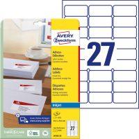 Avery Zweckform No. J4792-25 tintasugaras 63,5 x 29,6 mm méretű, fehér öntapadó etikett címke A4-es íven - 675 címke / csomag - 25 ív / csomag (Avery J4792-25)