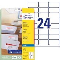 Avery Zweckform No. J8159-25 tintasugaras 63,5 x 33,9 mm méretű, fehér öntapadó etikett címke A4-es íven - 600 címke / csomag - 25 ív / csomag (Avery J8159-25)