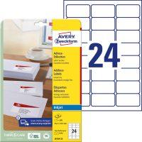 Avery Zweckform J8159-25 nyomtatható öntapadós címzés címke tintasugaras nyomtatóhoz