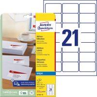 Avery Zweckform No. J8160-10 tintasugaras 63,5 x 38,1 mm méretű, fehér öntapadó etikett címke A4-es íven - 210 címke / csomag - 10 ív / csomag (Avery J8160-10)