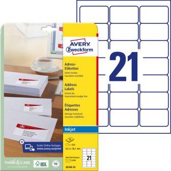 Avery Zweckform No. J8160-25 tintasugaras 63,5 x 38,1 mm méretű, fehér öntapadó etikett címke A4-es íven - 525 címke / csomag - 25 ív / csomag (Avery J8160-25)