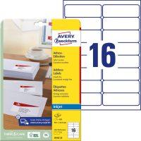 Avery Zweckform No. J8162-25 tintasugaras 99,1 x 33,9 mm méretű, fehér öntapadó etikett címke A4-es íven - 400 címke / csomag - 25 ív / csomag (Avery J8162-25)