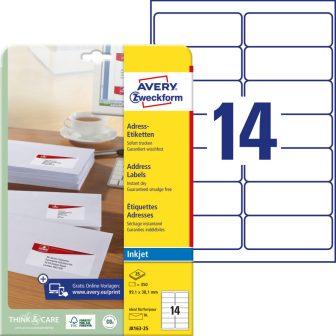 Avery Zweckform No. J8163-25 tintasugaras 99,1 x 38,1 mm méretű, fehér öntapadó etikett címke A4-es íven - 350 címke / csomag - 25 ív / csomag (Avery J8163-25)