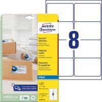 Avery Zweckform No. J8165-25 tintasugaras 99,1 x 67,7 mm méretű, fehér öntapadó etikett címke A4-es íven - 200 címke / csomag - 25 ív / csomag (Avery J8165-25)