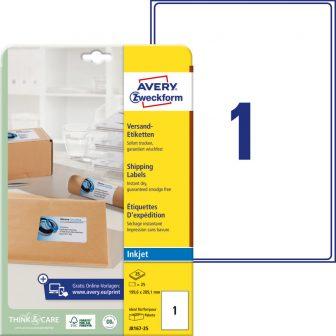 Avery Zweckform No. J8167-25 tintasugaras 199,6 x 289,1 mm méretű, fehér öntapadó etikett címke A4-es íven - 25 címke / csomag - 25 ív / csomag (Avery J8167-25)