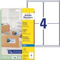 Avery Zweckform No. J8169-25 tintasugaras 99,1 x 139 mm méretű, fehér öntapadó etikett címke A4-es íven - 100 címke / csomag - 25 ív / csomag (Avery J8169-25)