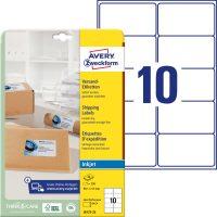Avery Zweckform No. J8173-25 tintasugaras 99,1 x 57 mm méretű, fehér öntapadó etikett címke A4-es íven - 250 címke / csomag - 25 ív / csomag (Avery J8173-25)