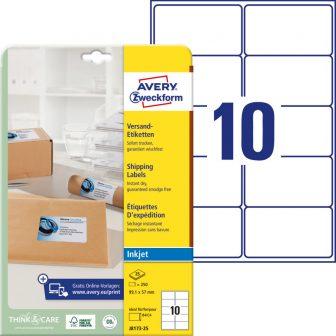 Avery Zweckform J8173-25 nyomtatható öntapadós csomag címke tintasugaras nyomtatóhoz