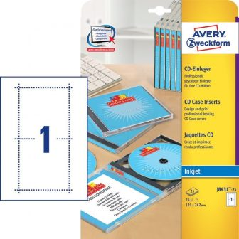 Avery Zweckform No. J8431-25 tintasugaras 121 x 242 mm méretű, CD tok betét mikroperforált élekkel A4-es íven - 25 CD tok betét / csomag - 25 ív / csomag (Avery J8431-25)