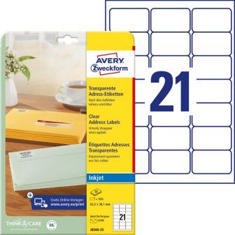 Avery Zweckform No. J8560-25 tintasugaras 63,5 x 38,1 mm méretű, átlátszó öntapadó etikett címke A4-es íven - 525 címke / csomag - 25 ív / csomag (Avery J8560-25)