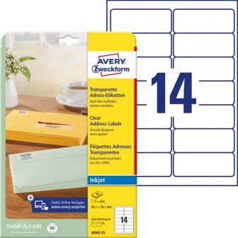 Avery Zweckform No. J8563-25 tintasugaras 99,1 x 38,1 mm méretű, átlátszó öntapadó etikett címke A4-es íven - 350 címke / csomag - 25 ív / csomag (Avery J8563-25)
