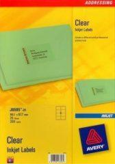 Avery Zweckform No. J8565-25 tintasugaras 99,1 x 67,7 mm méretű, átlátszó öntapadó etikett címke A4-es íven - 200 címke / csomag - 25 ív / csomag (Avery J8565-25)