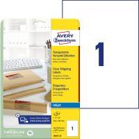 Avery Zweckform No. J8567-25 tintasugaras 210 x 297 mm méretű, átlátszó öntapadó etikett címke A4-es íven - 25 címke / csomag - 25 ív / csomag (Avery J8567-25)