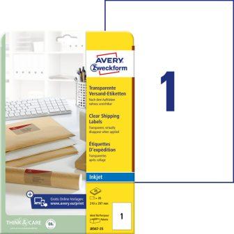 Avery Zweckform J8567-25 nyomtatható öntapadós átlátszó csomag címke tintasugaras nyomtatóhoz