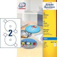 Avery Zweckform No. J8676-100 tintasugaras 117 mm átmérőjű fehér, öntapadó CD címke A4-es íven - 200 címke / doboz - 100 ív / doboz (Avery J8676-100)