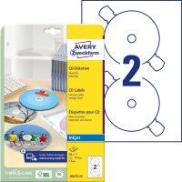 Avery Zweckform No. J8676-25 tintasugaras 117 mm átmérőjű fehér, öntapadó CD címke A4-es íven - 50 címke / csomag - 25 ív / csomag (Avery J8676-25)