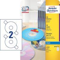 Avery Zweckform No. J8743-25 tintasugaras 117 mm átmérőjű fehér, öntapadó CD címke A4-es íven - 50 címke / csomag - 25 ív / csomag (Avery J8743-25)
