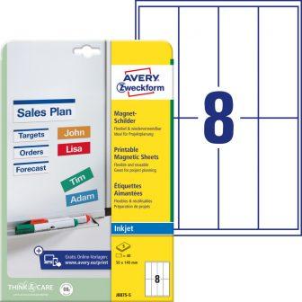 Avery Zweckform No. J8875-5 tintasugaras 50 x 140 mm méretű fehér mágneses címke A4 -es íven - 40 darab / csomag - 5 ív / csomag (Avery J8875-5)