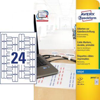 Avery Zweckform J8950-10 nyomtatható öntapadós időjárásálló kábeljelölő címke