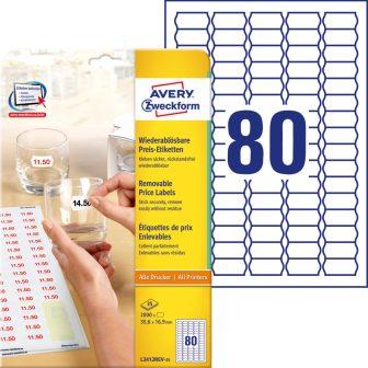 Avery Zweckform No. L3412REV-25 univerzális 35,6 x 16,9 mm méretű visszaszedhető, fehér öntapadó árazó címke A4-es íven - 2000 címke / csomag - 25 ív / csomag (Avery L3412REV-25)