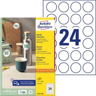 Avery Zweckform No. L3415-100 univerzális 40 mm átmérőjű, fehér öntapadó kör alakú termékcímke A4-es íven - 2400 címke / doboz - 100 ív / doboz (Avery L3415-100)