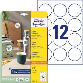 Avery Zweckform L3416-10 kör alakú nyomtatható öntapadós etikett címke