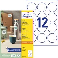 Avery Zweckform No. L3416-100 univerzális 60 mm átmérőjű, fehér öntapadó kör alakú termékcímke A4-es íven - 1200 címke / doboz - 100 ív / doboz (Avery L3416-100)